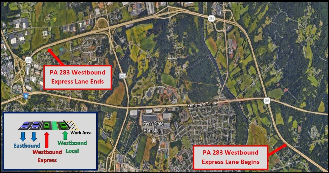 new traffic patterns begin on westbound route 283 in dauphin county during reconstruction project