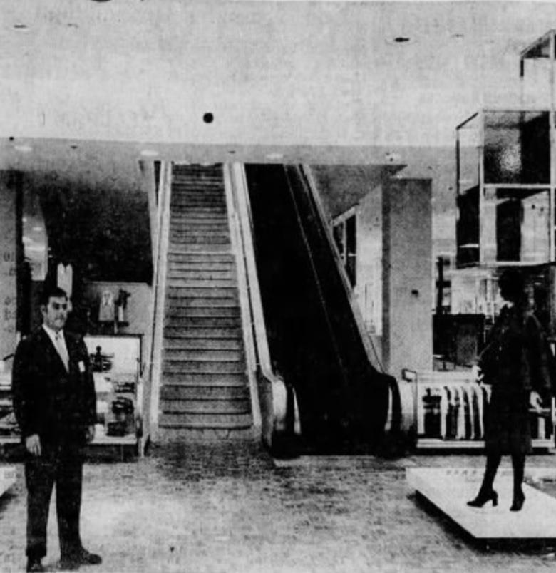 Gimbels escalators, 1970