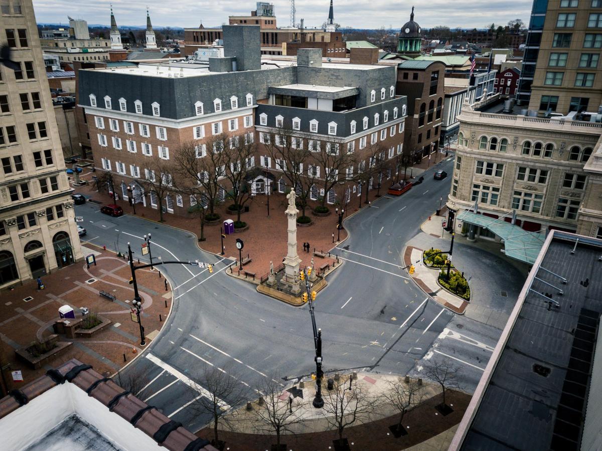Aerial Lancaster city during shutdown