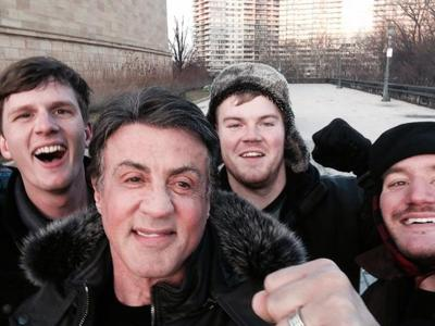 """Stallone and friends meet on """"Rocky"""" steps"""
