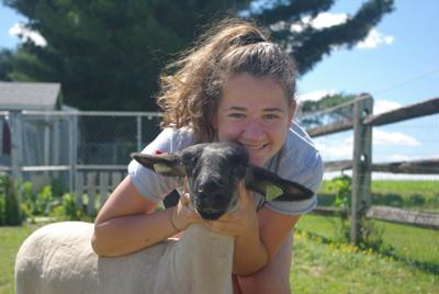 Bailey Oberholtzer with sheep