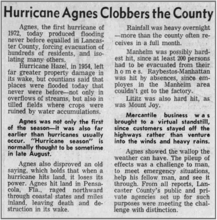 Hurricane Agnes newspaper clipping