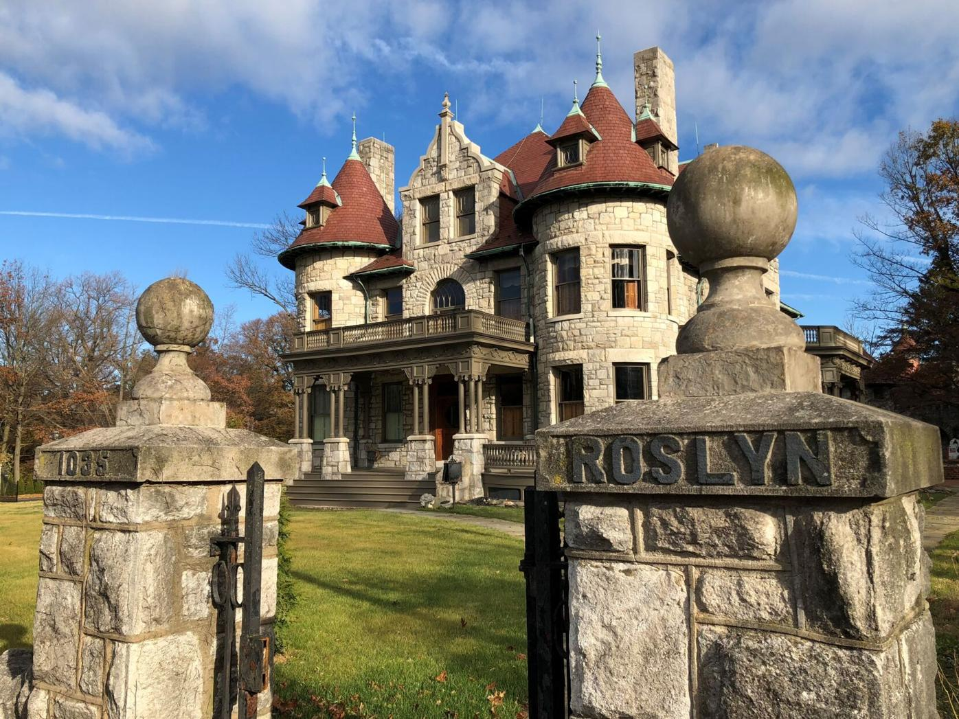 HG Architecture col J10 Roslyn, Peter T Watt Mansion 1896 C Emlen Urban with Avondale stone, towers, dormers and finials.jpg