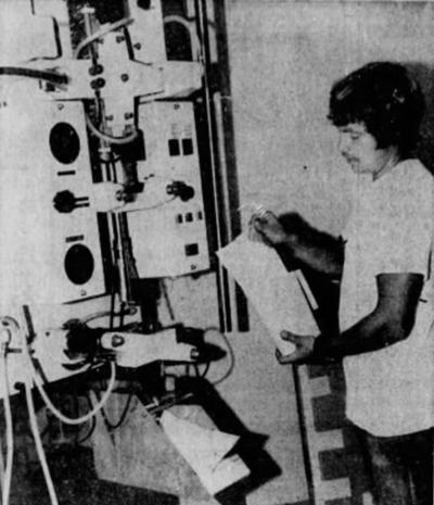 Milk bagging machine, 1971