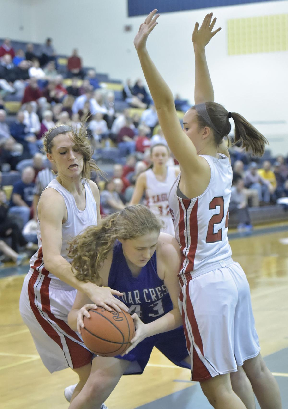girls u0026 39  basketball  cumberland valley clips cedar crest in