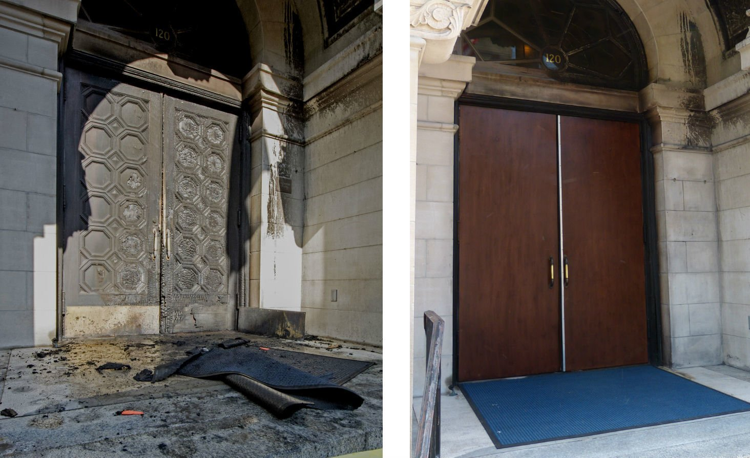 City Hall doors before and after & Pricelessu0027 City Hall doors too damaged in arson fire to be saved ...