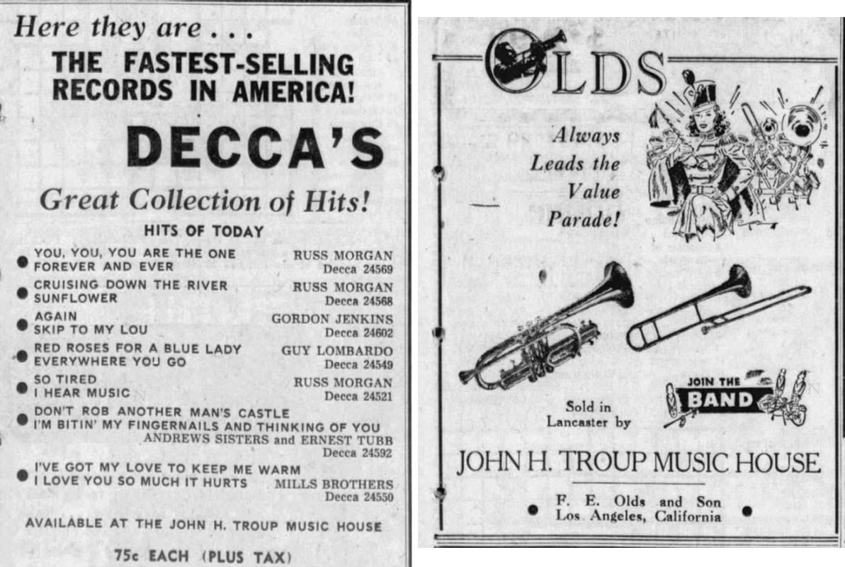 Troup Music House ads