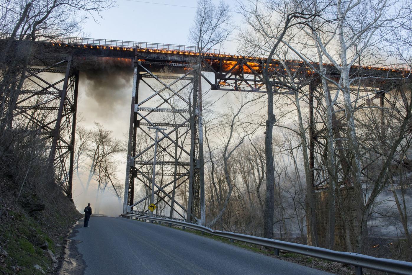 Railroad bridge fire