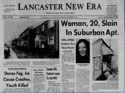 Biechler case: Lancaster New Era front page, Dec. 6, 1975