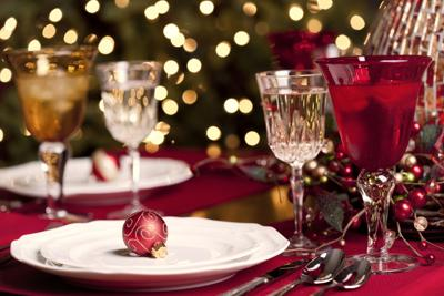 Christmas holiday dining table place setting