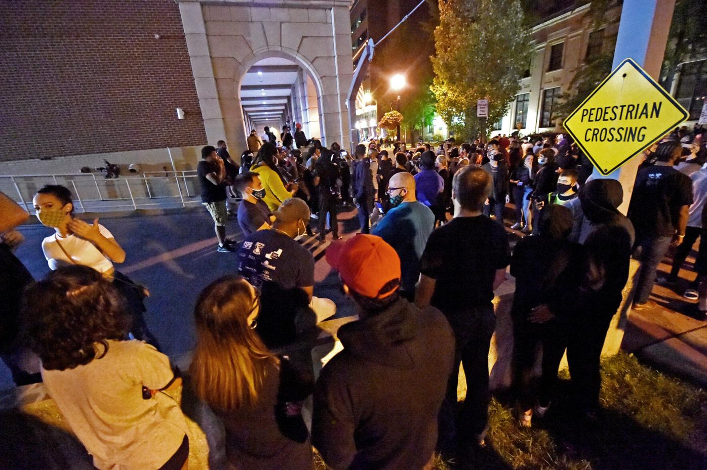 Crowds form on ramp to Lancaster City Police Station