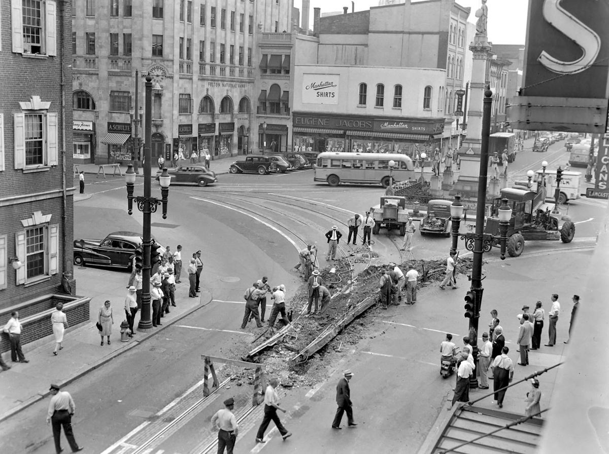 digging up trolley tracks, penn square