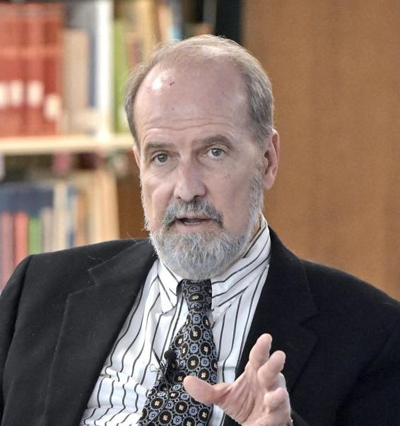Professor Lee Barrett speaks during a seminar at the Lancaster Theological Seminary's Schaff Library.