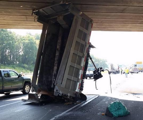 Route 222 Opens After Penndot Dump Truck Gets Wedged Under