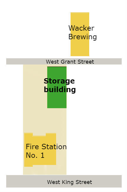 Locator map: Fire Station No. 1 and Wacker Brewing Co.