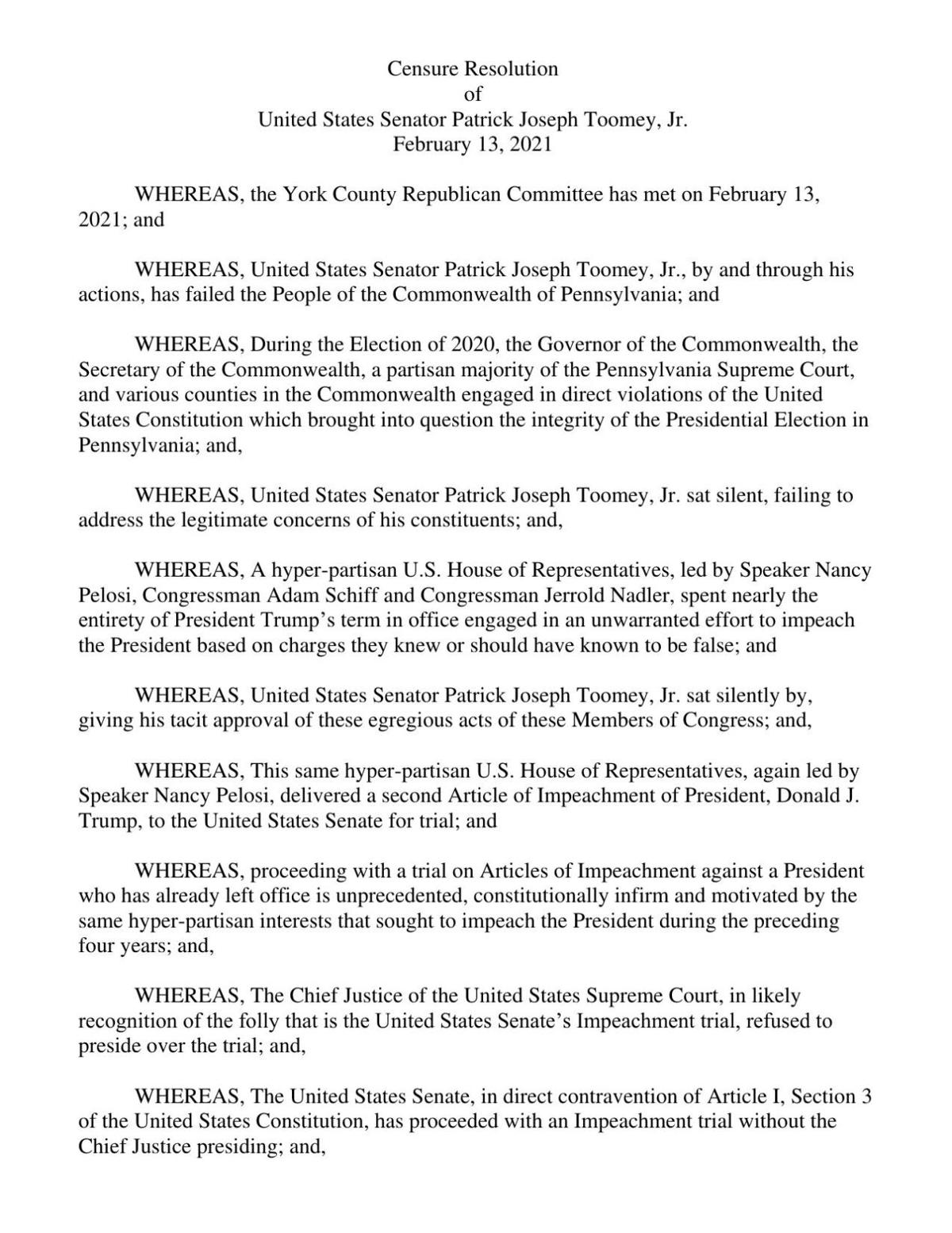 York County Republican Committee Resolution