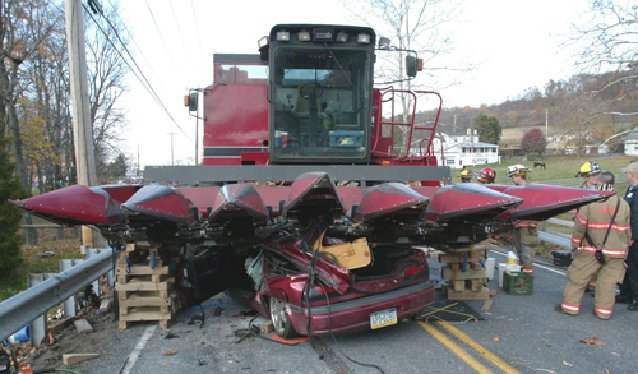 Farm Tractor Pto Accidents : Combine car collide news lancasteronline