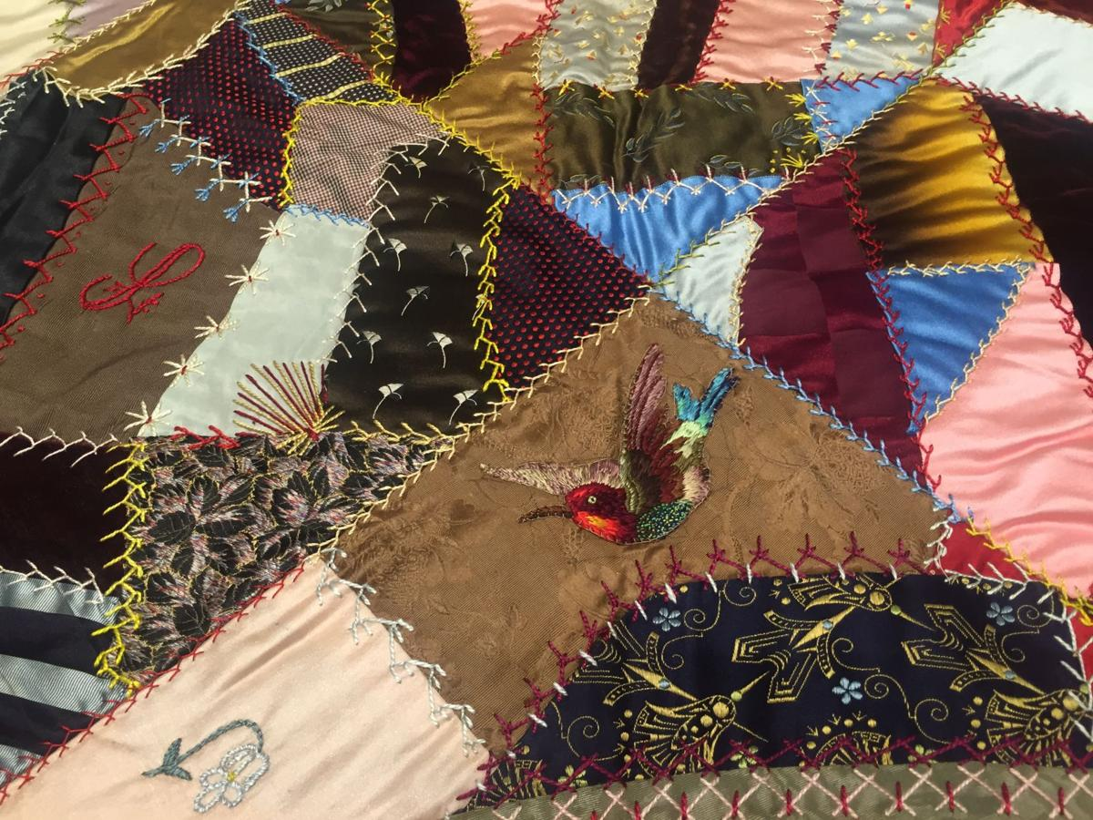 This vintage crazy quilt has everything from a velvet painting to ... : antique crazy quilt - Adamdwight.com