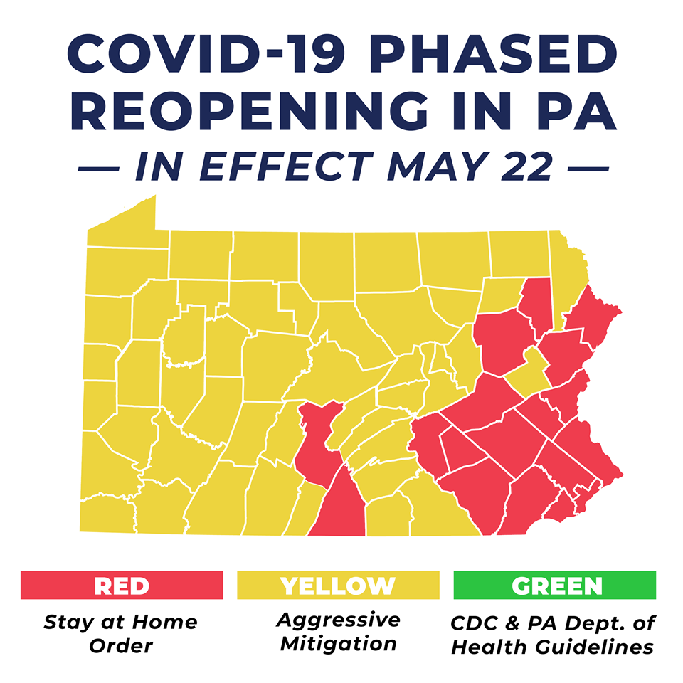 yellow reopening covid-19 stay at home map as of May 22, 2020