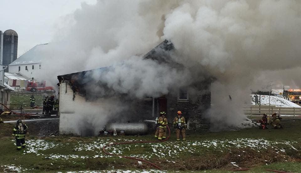 Furniture shop burning in West Lampeter Township