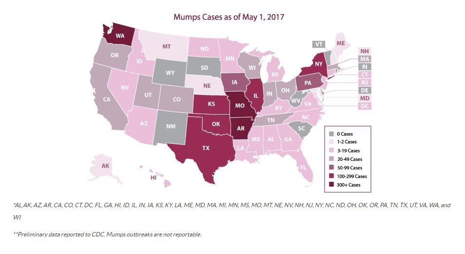 2017 mumps cases as of May 1