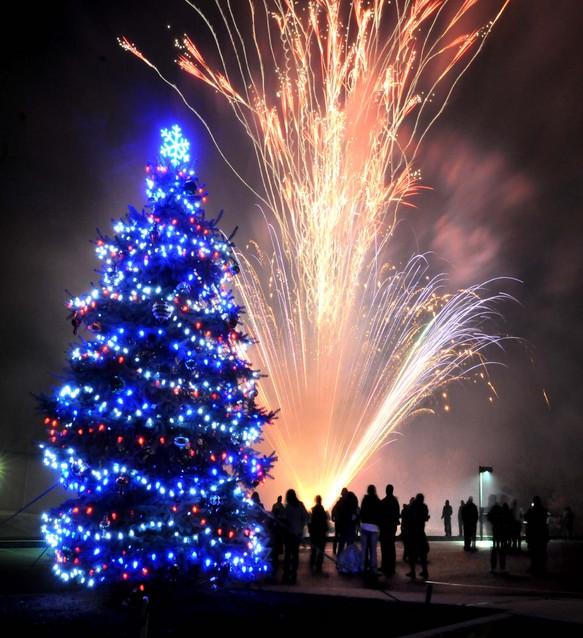 Christmas Lights Shop Charnock Richard: Fireworks Light Sky At Tree-lighting Ceremony In Paradise