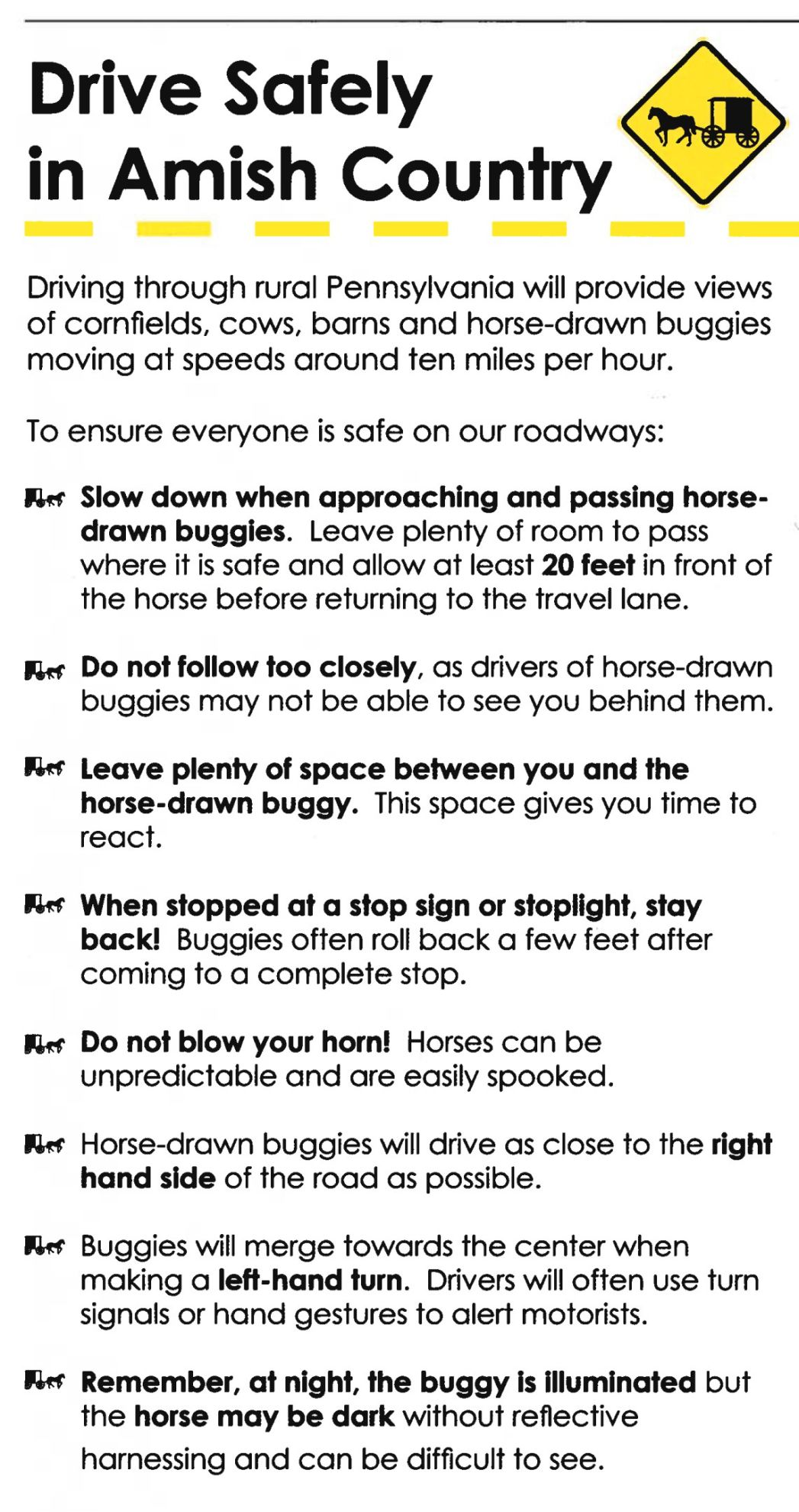 Drive Safely in Amish Country pamphlet