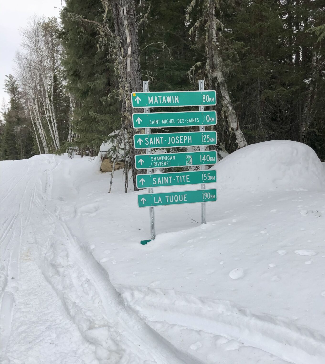 snowmobile road signs