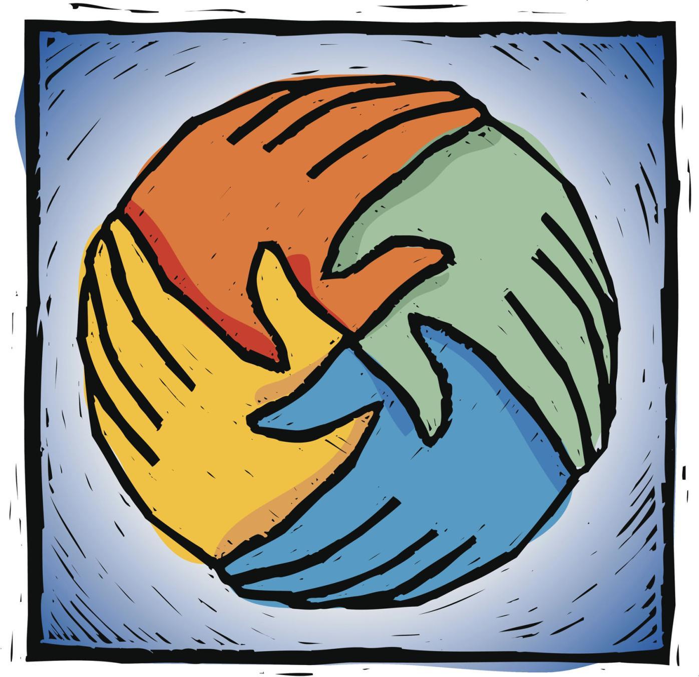 world holding hands logo