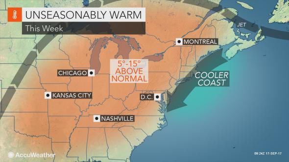 Daytime highs expected in the 70s as fall season arrives