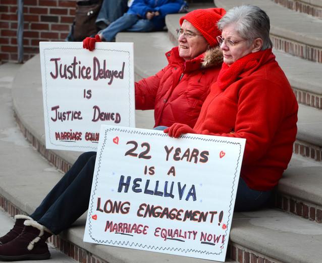 Supporters of same-sex marriage hold vigil in downtown Lancaster