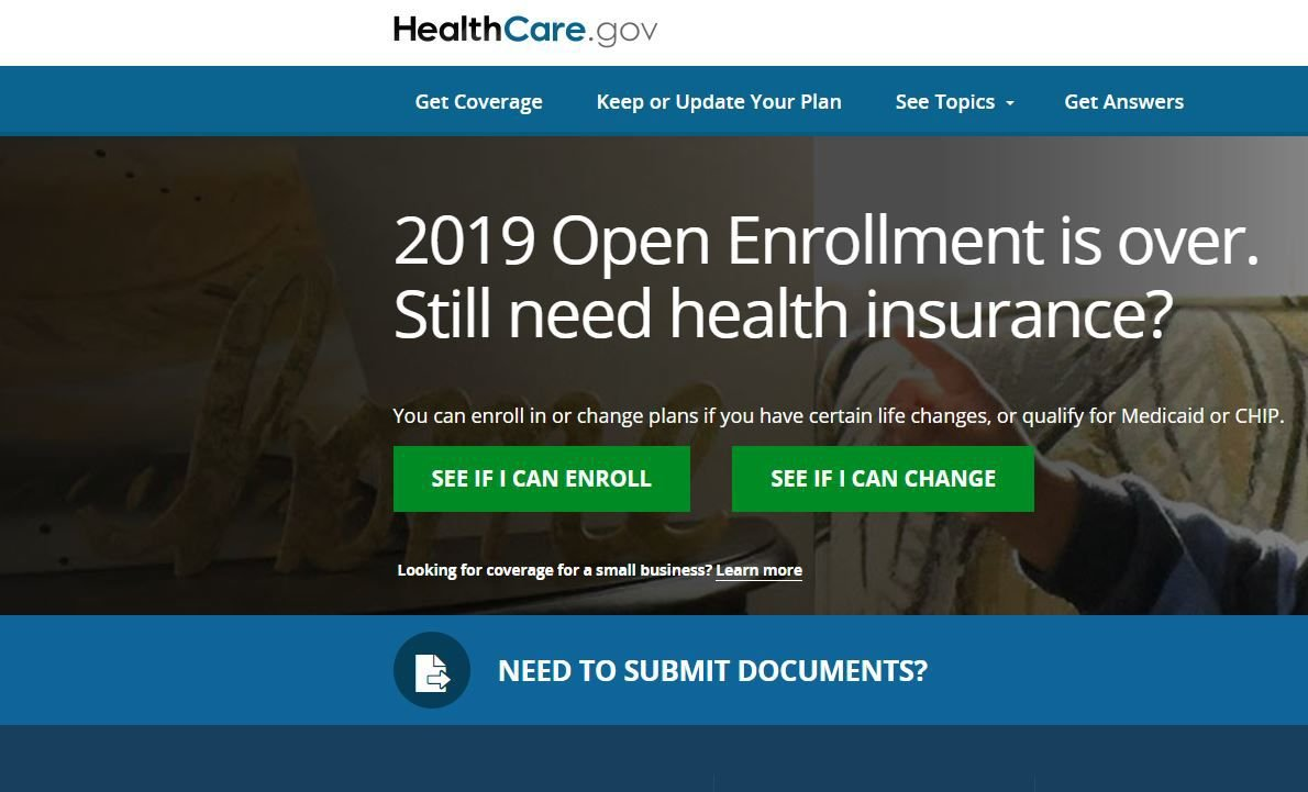 healthcare.gov home screen as of March 28, 2019