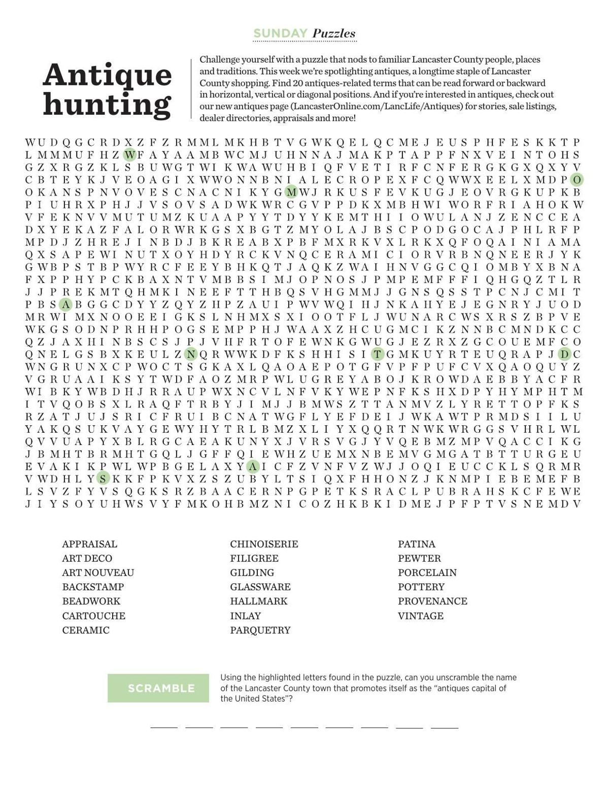 Word Search: Antique hunting | Sunday | lancasteronline com