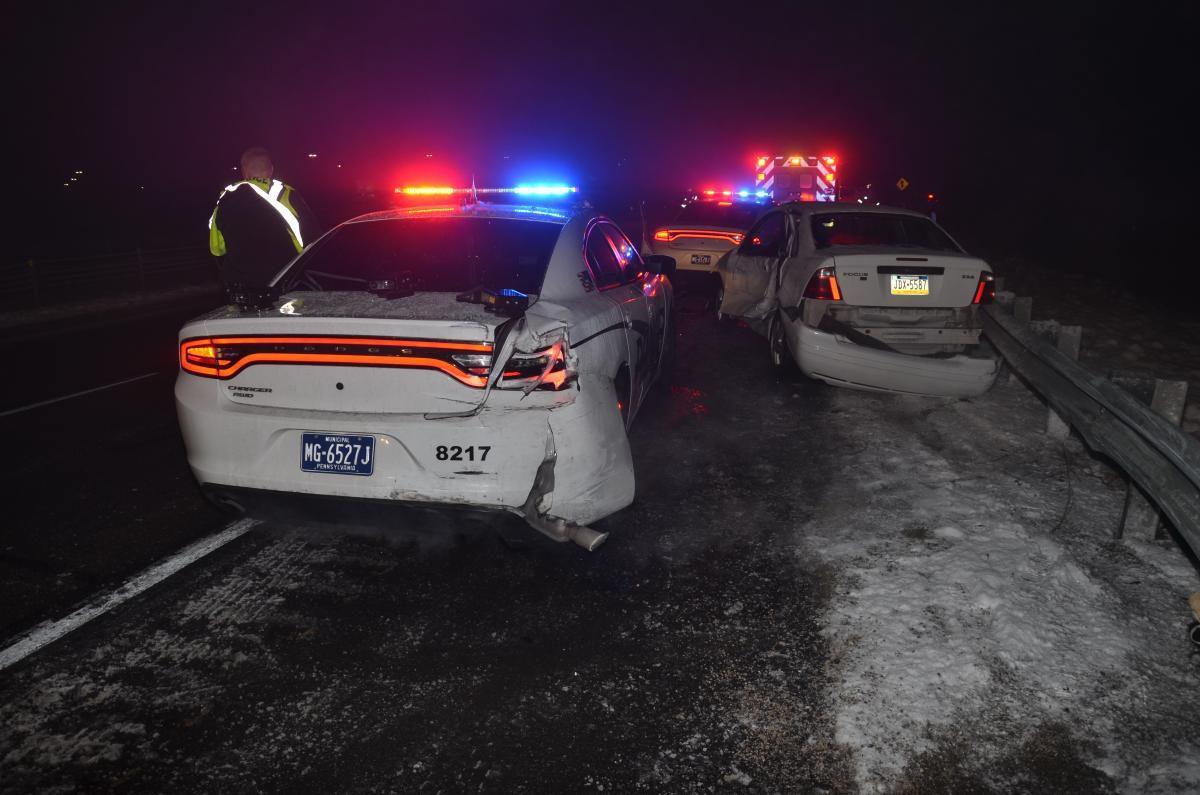 Ephrata Police Cars Struck On Route After Driver Slides On - Police car