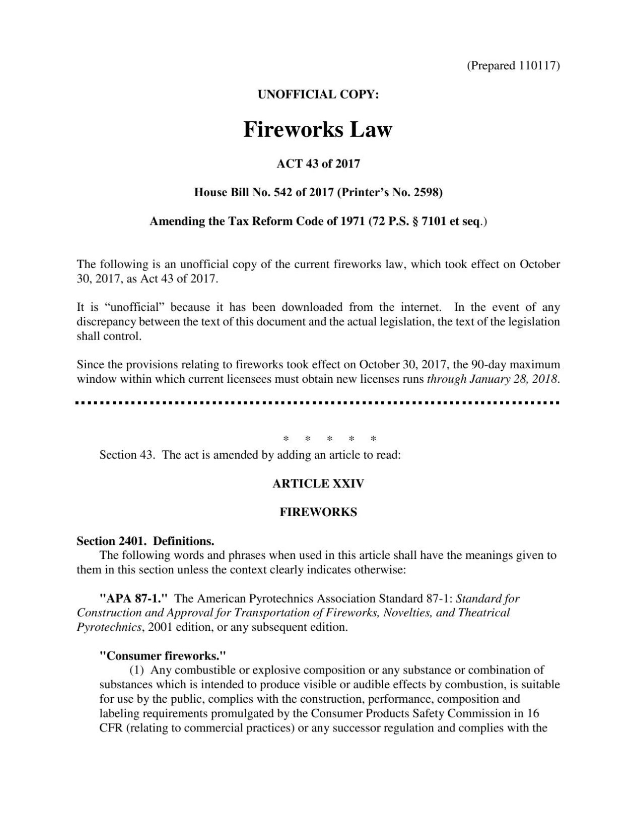 Read the new fireworks law