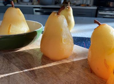 Poached pears pose