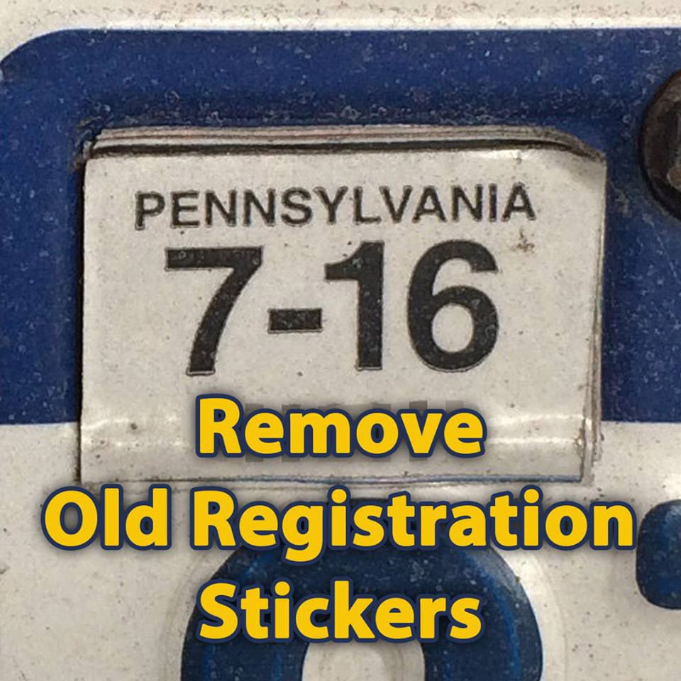 Take off those old registration stickers or out of state police registration stickers sciox Choice Image