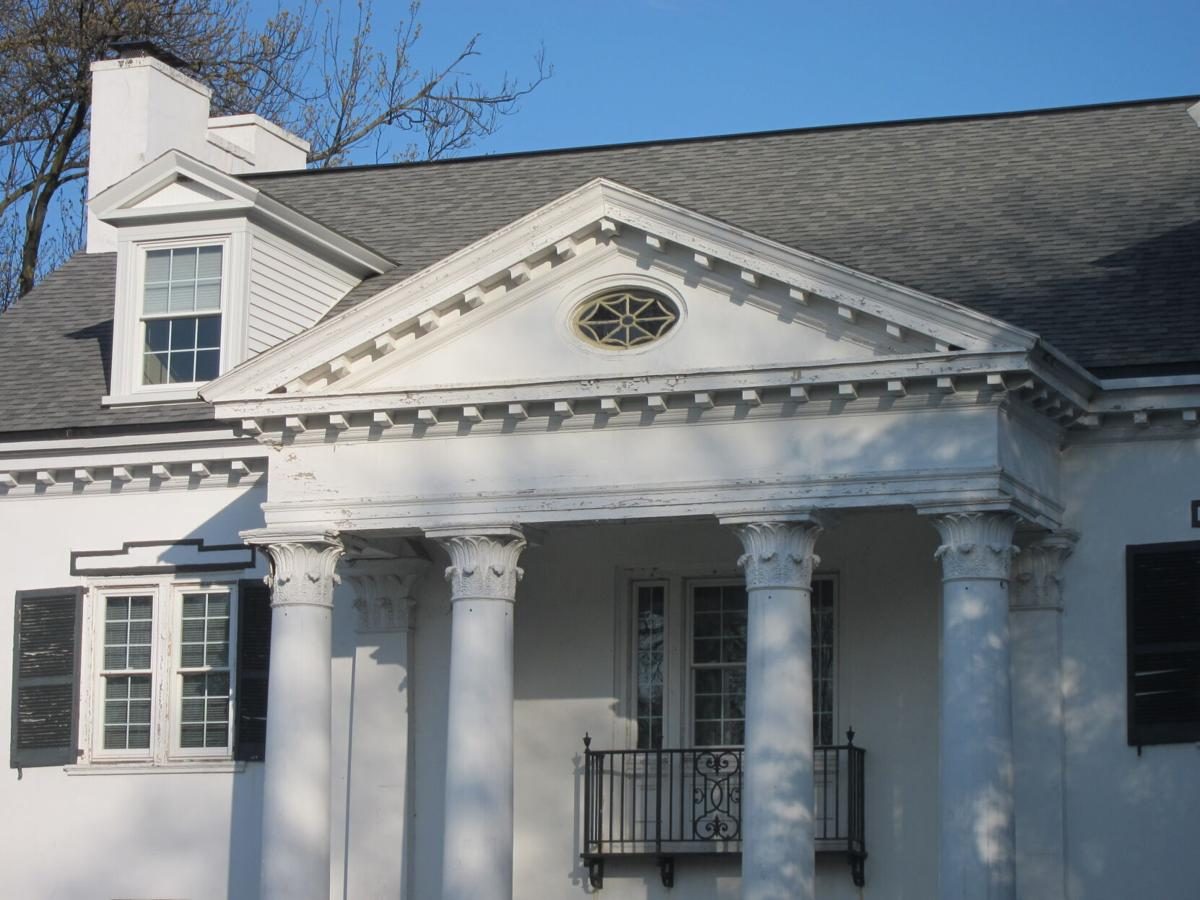 Mayer Homestead c1797 at Glen Moore Circle Federal Style updated to Classical Revival c1830 Corinthian Columns with Pediment and oval window(2).jpg