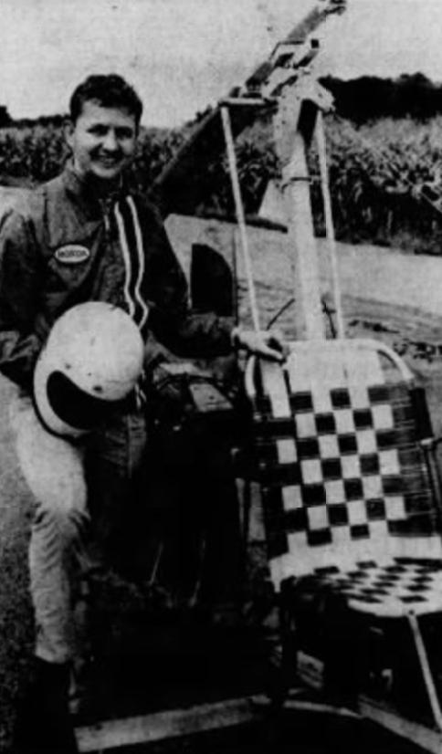 Tom Gamble and gyrocopter, 1971
