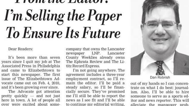 LNP Media Group to acquire Elizabethtown Advocate weekly