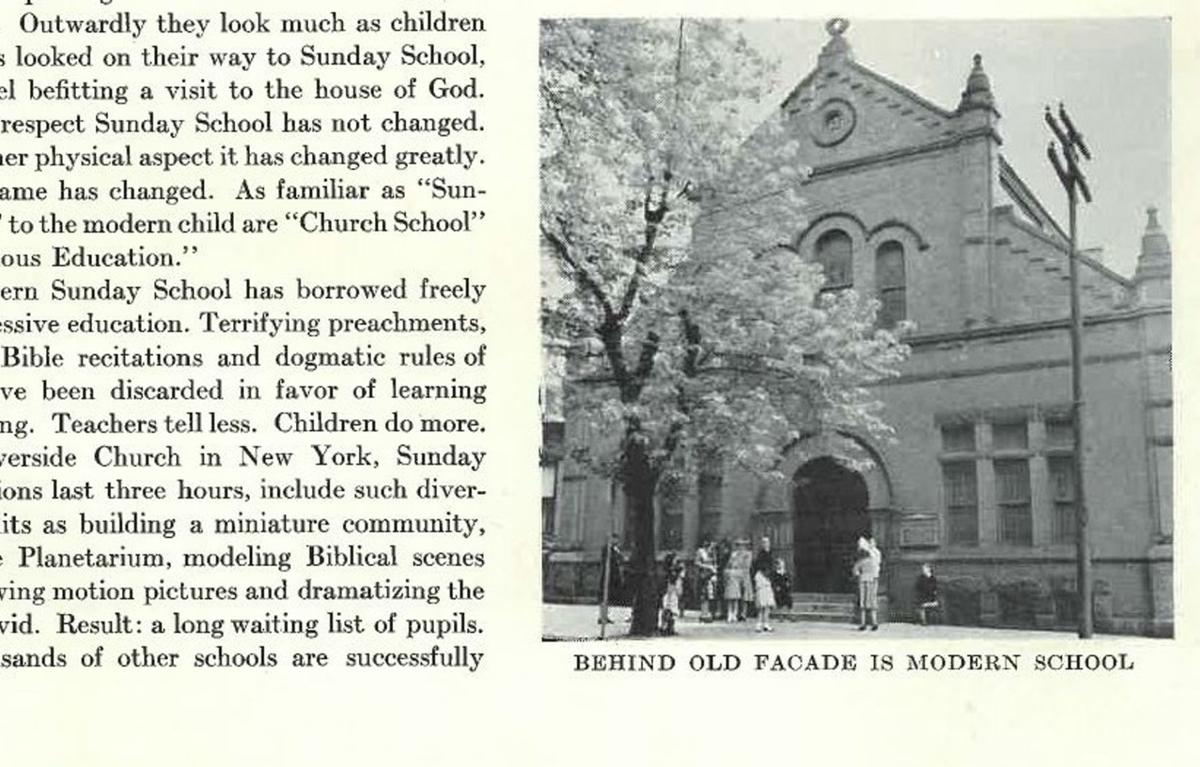 First Presbyterian Church -1941 - Old Facade of Evans Chapel in front of new school - Life Magazine.jpg