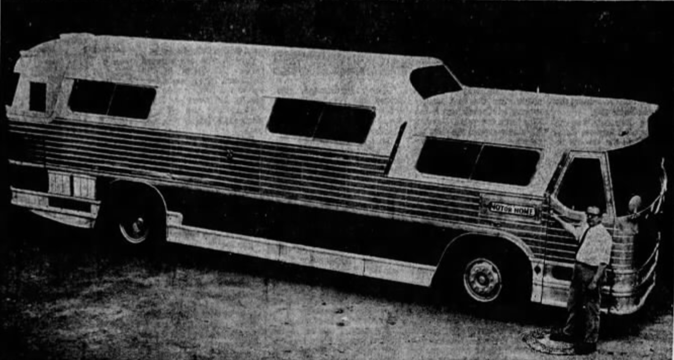 Bob Wagner and his bus, 1971