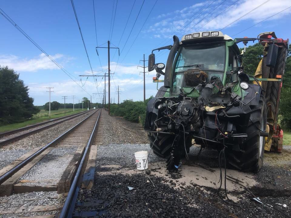 Tractor train crash on amtrak line