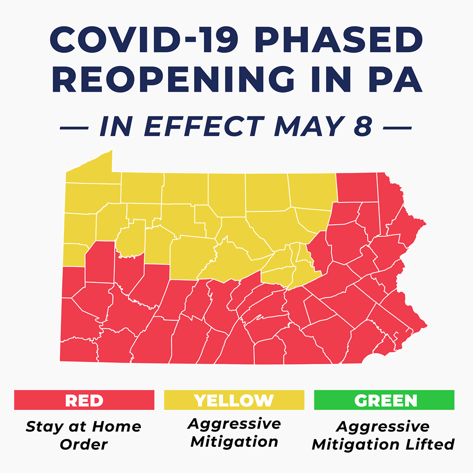wolf COVID-19 reopening plan yellow to start may 8