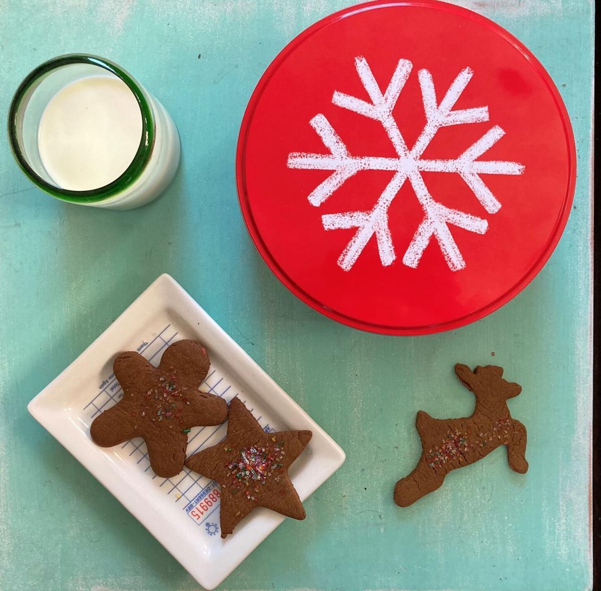 Gingerbread cookies and milk.
