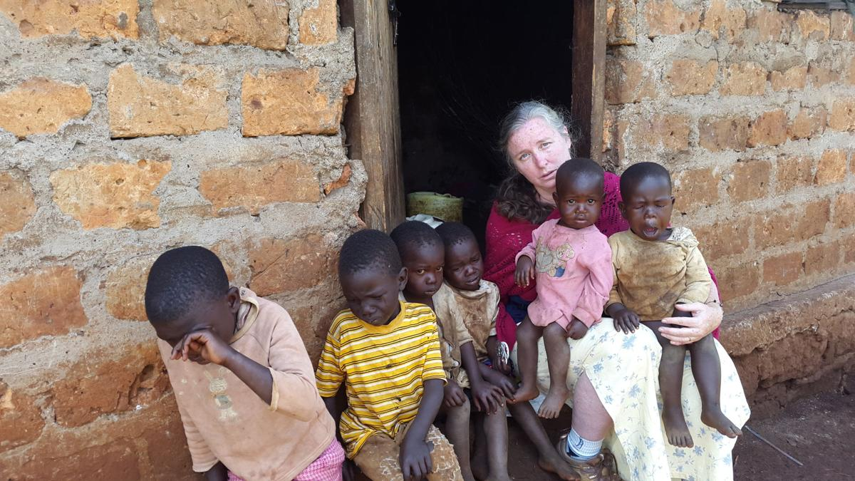 Mary Rose Dow with some of her children in Kenya