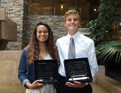 A. Landis Brackbill Award recipients: Penn Manor's Alyssa Schriver and Nicholas Fafel