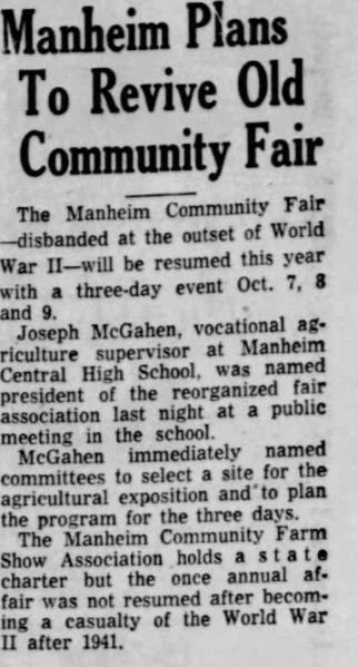 Manheim Community Farm Show 1954