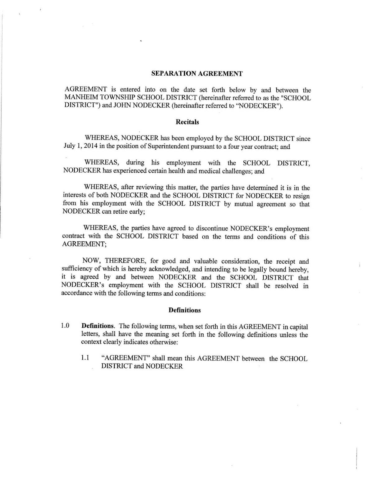 Manheim Township School District Separation Agreement With