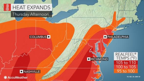 Heat expands on Thursday